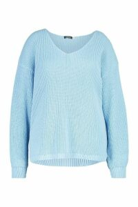 Womens Plus Oversized V-neck Jumper - blue - 20, Blue
