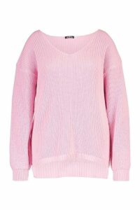 Womens Plus Oversized V-neck Jumper - pastel pink - 20, Pastel Pink