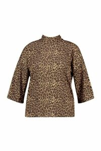 Womens Plus Leopard 3/4 Sleeve Boxy Fit T-Shirt - Brown - 20, Brown