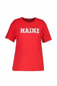 Womens Plus Maine Short Sleeve T-Shirt - red - 22, Red