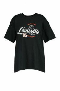 Womens Plus Louisville Printed T-Shirt - Black - 20-22, Black