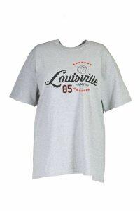 Womens Plus Louisville Printed T-Shirt - Grey - 24, Grey