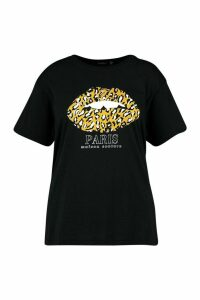 Womens Plus Paris Leopard Lips Slogan T-shirt - black - 18, Black
