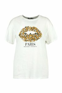 Womens Plus Paris Leopard Lips Slogan T-Shirt - White - 18, White
