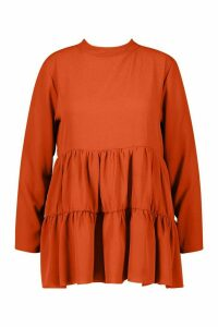 Womens Plus High Neck Smock Top - orange - 18, Orange
