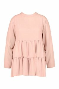 Womens Plus High Neck Smock Top - pink - 16, Pink