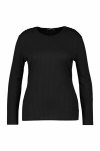 Womens Plus Basic Rib Longsleeve Top - Black - 20, Black