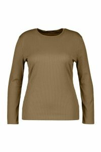 Womens Plus Basic Rib Longsleeve Top - Green - 26, Green