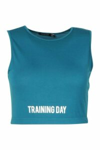 Womens Plus Slogan Gym Crop Top - Green - 16, Green