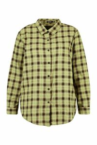 Womens Plus Soft Check Oversized Shirt - Green - 20, Green
