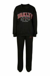 Womens Brooklyn NYC Oversized jumper Tracksuit - black - 16, Black