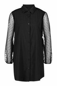 Womens Organza Spot Mesh Sleeve Longline Shirt - black - 10, Black