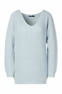 Womens Oversized Fisherman V Neck Jumper - blue - M, Blue