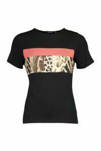 Womens Leopard Colour Block T-Shirt - black - 16, Black