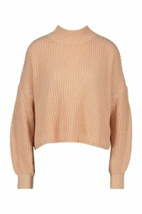 Womens Oversized Balloon Sleeve Crop Jumper - pink - L, Pink