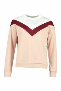 Womens Colour Block Chevron Sweatshirt - pink - L, Pink