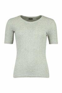 Womens Rib Short Sleeve T-Shirt - Grey - Xs, Grey