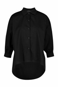Womens Oversized Dip Hem Cotton Shirt - black - M/L, Black