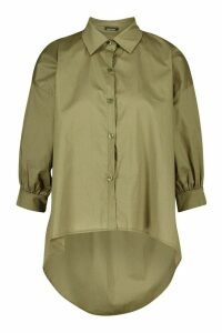Womens Oversized Dip Hem Cotton Shirt - green - M/L, Green