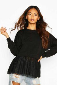 Womens Mesh Ruffle Sweatshirt - black - 16, Black