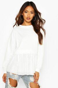 Womens Mesh Ruffle Sweatshirt - white - 16, White