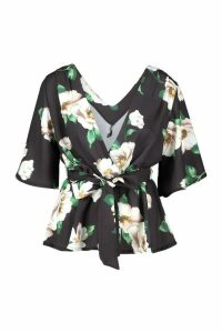 Womens Frill Structured Sleeve Floral Blouse - black - 12, Black