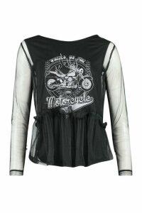 Womens Mesh Overlay Wheels On Fire Slogan Top - black - M, Black