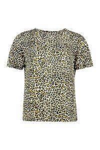 Womens Oversized Leopard T-Shirt - beige - XS, Beige