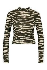 Womens Tiger Print High Neck Longsleeve Top - black - 14, Black