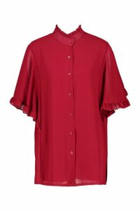 Womens Woven Ruffle Sleeve Tunic Blouse - red - 12, Red