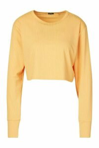 Womens Jumbo Rib Long Sleeve Batwing Rib Crop Top - orange - 16, Orange