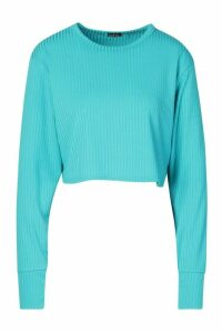 Womens Jumbo Rib Long Sleeve Batwing Rib Crop Top - blue - 16, Blue