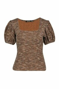 Womens Square Neck Puff Sleeve Jacquard Top - Brown - 14, Brown