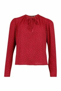 Womens Polka Dot Puff Sleeve Tie Neck Blouse - red - 14, Red