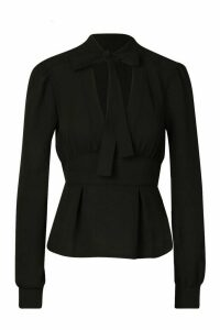 Womens Tie Neck Woven Peplum Blouse - black - 14, Black