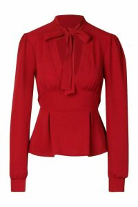 Womens Tie Neck Woven Peplum Blouse - Red - 12, Red