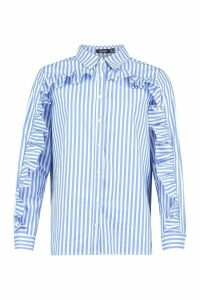 Womens Stripe Ruffle Sleeve Cotton Shirt - blue - 14, Blue