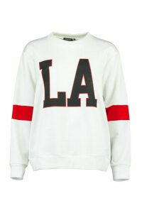 Womens LA Stripe Sleeve Sweatshirt - white - 12, White