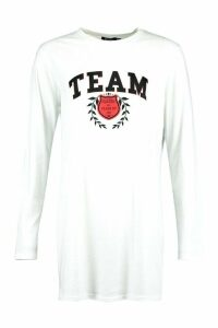 Womens Long Sleeve Team Slogan T-Shirt Dress - White - 14, White