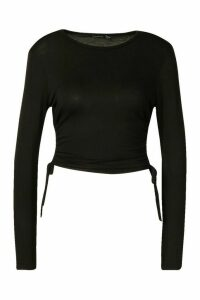 Womens Long Sleeve Ruched Side Top - black - 16, Black
