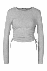 Womens Long Sleeve Ruched Side Top - Grey - 16, Grey