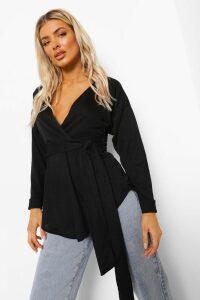 Womens Tie Waist Wrap Longsleeve Blouse - Black - 14, Black