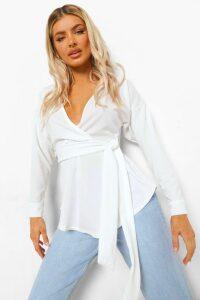Womens Tie Waist Wrap Longsleeve Blouse - White - 16, White
