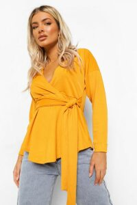 Womens Tie Waist Wrap Longsleeve Blouse - yellow - 10, Yellow