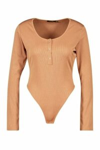 Womens Jersey Popper Body - Beige - 14, Beige