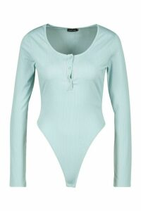 Womens Jersey Popper Body - blue - 14, Blue