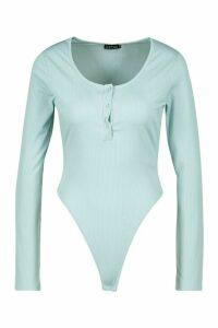 Womens Jersey Popper Body - Blue - 14, Blue