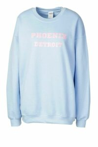 Womens Extreme Oversized Slogan Crew Neck Sweat - Blue - XXL, Blue
