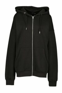 Oversized Zip Through Hoody - black - M, Black