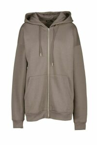 Oversized Zip Through Hoody - grey - M, Grey
